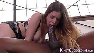 Cuckolder anally rides big black cock