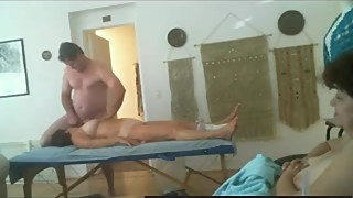 Amateur Cuckold Three Way In A Massage Salon