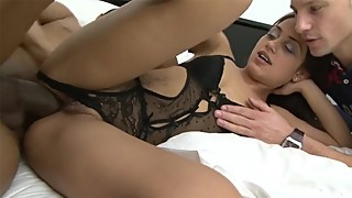 Brunette anal threesome and fuck