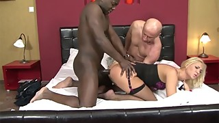 Rough threesome with two guys and a hot blonde