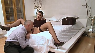He is cuckold his young wife, with an old slut.