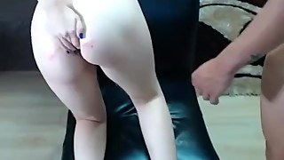 cuckold fucked whore with fingers and licked pussy with cum after lover