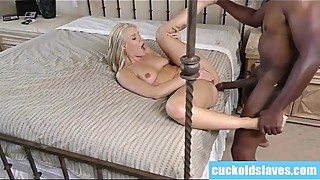 Blonde anal whore worships black monstercock